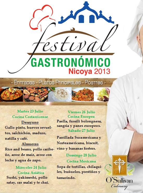 Menú festival Gastronómico Nicoya del 23 al 28 de Julio