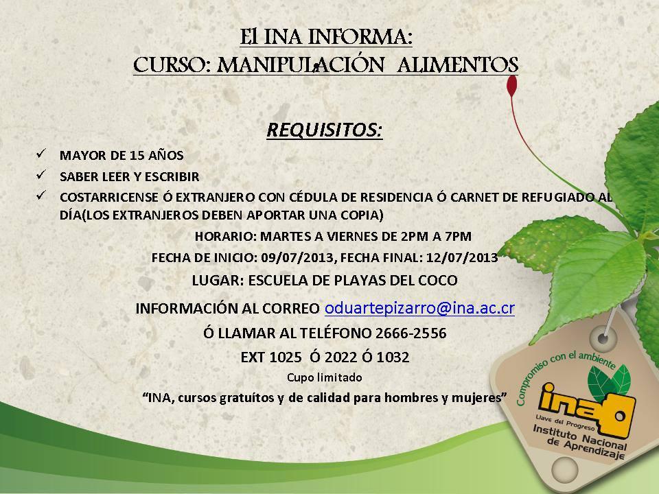INA ofrecera curso de Manipulación de alimentos en Playa del Coco