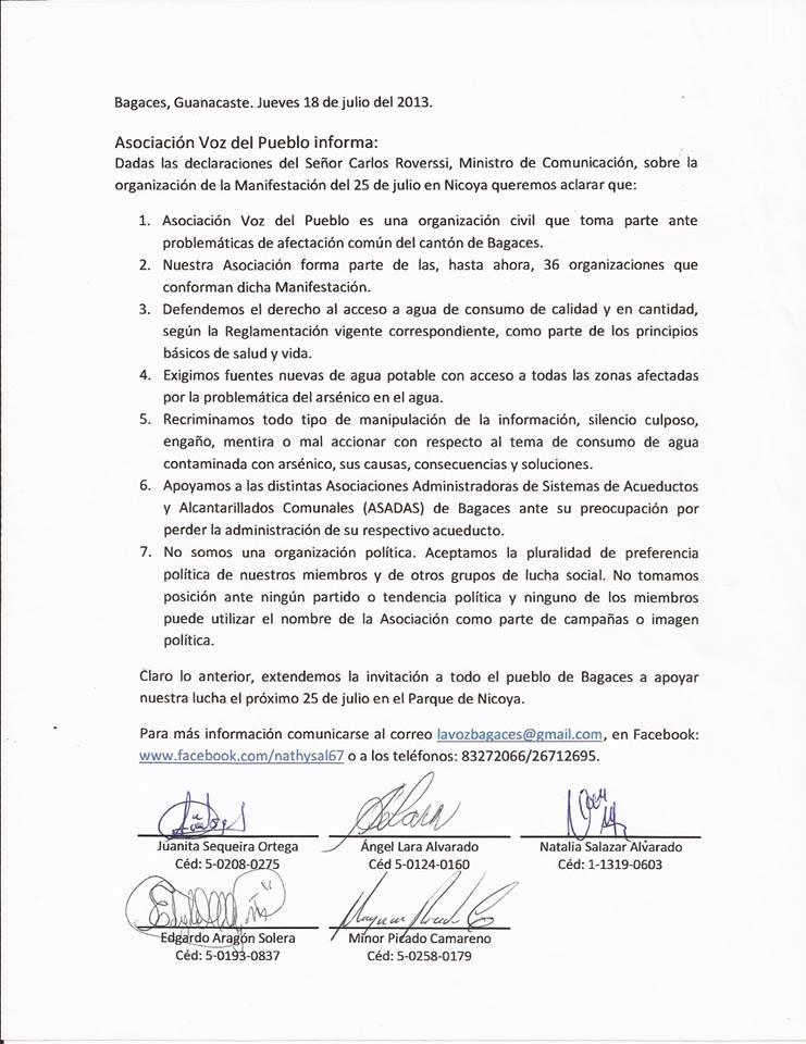 Asociación Voz del Pueblo Bagaces, se pronuncia ante Manifestación del 25 de julio