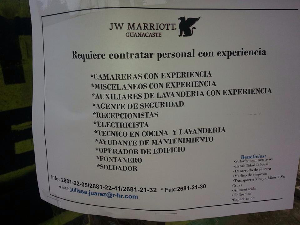 JW Marriott Guanacaste requiere contratar personal