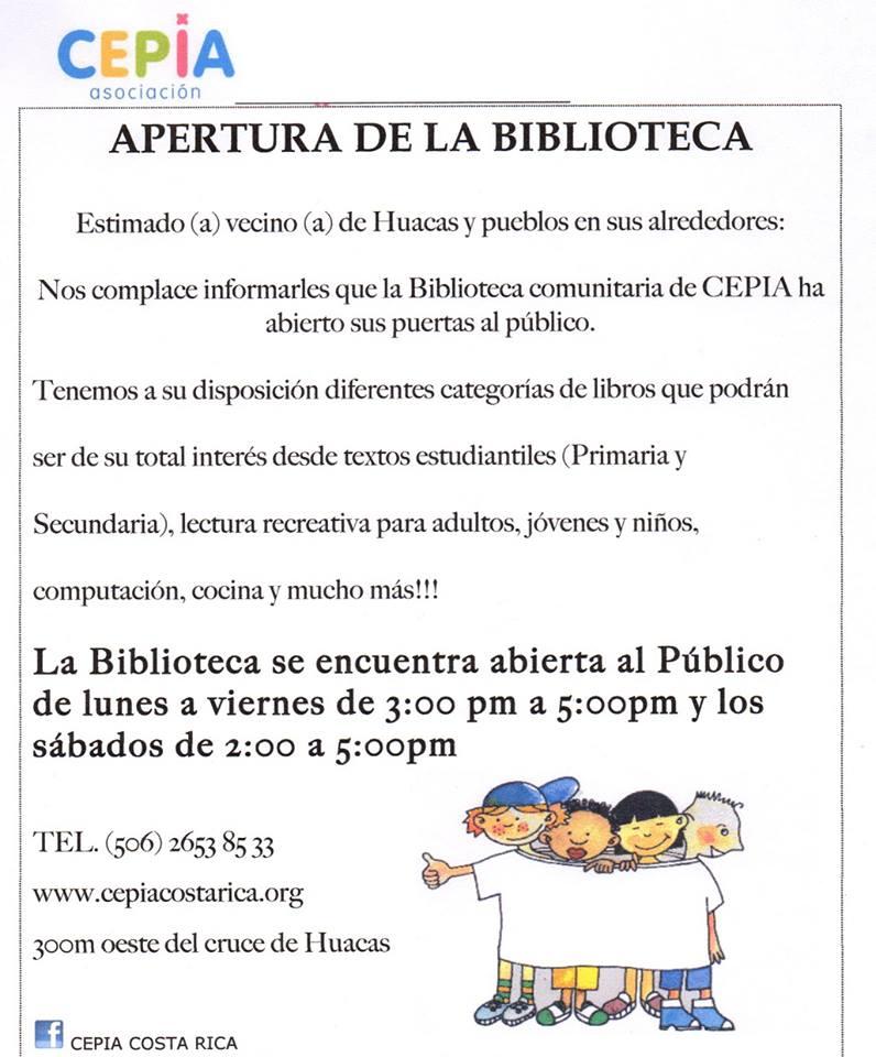 Fundación CEPIA, anuncia apertura de Bibloteca en Huacas