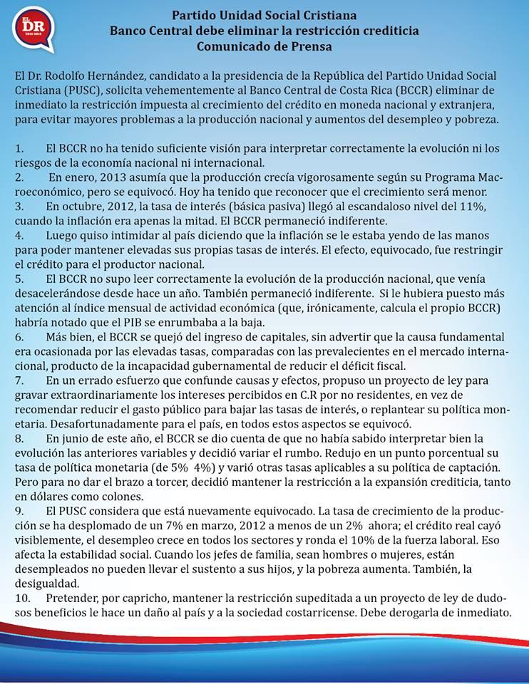 Candidato a la presidencia Rodolfo Hernández, solicita al Banco Central la eliminación de la restricción Crediticia.