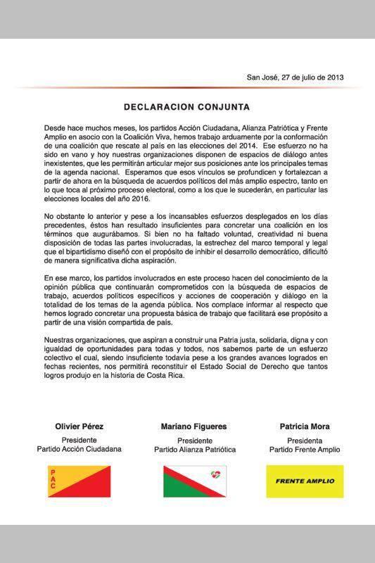 No habrá coalición entre Partido Acción Ciudada, Frente Amplio, y Alianza Patriótica