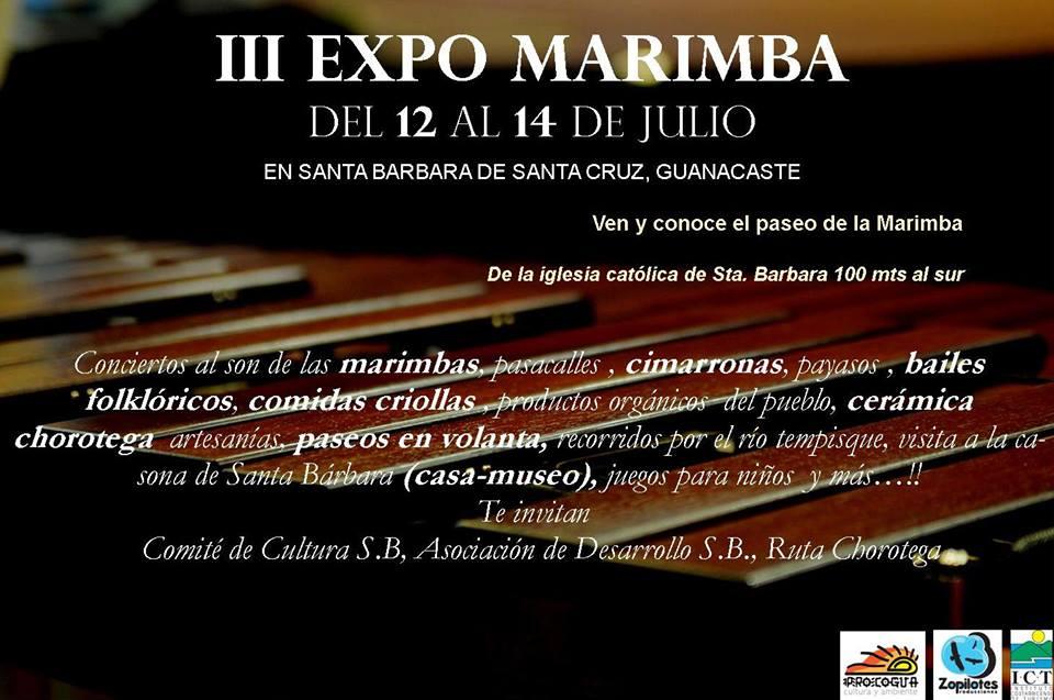 Comité de Cultura Santa Bárbara Santa Cruz, te invita a la III Expomarimba a celebrarse del 12 al 14 de julio, del 2013