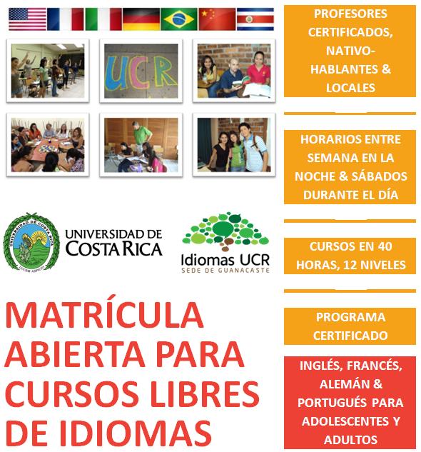Universidad de Costa Rica sede Libieria tiene matrícula abierta, en cursos libres de Idiomas.