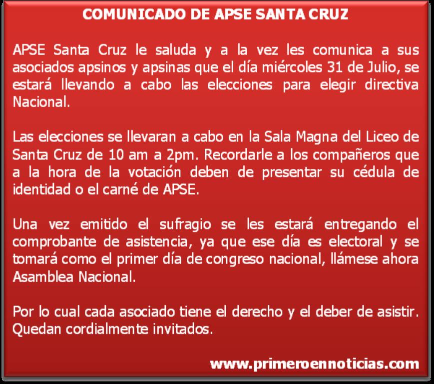 Comunicado APSE Santa Cruz.