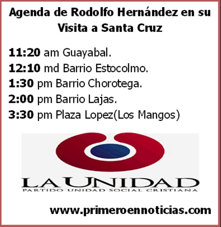 Agenda del precandidato a la presidencia Rodolfo Hernández, en su visita a Santa Cruz