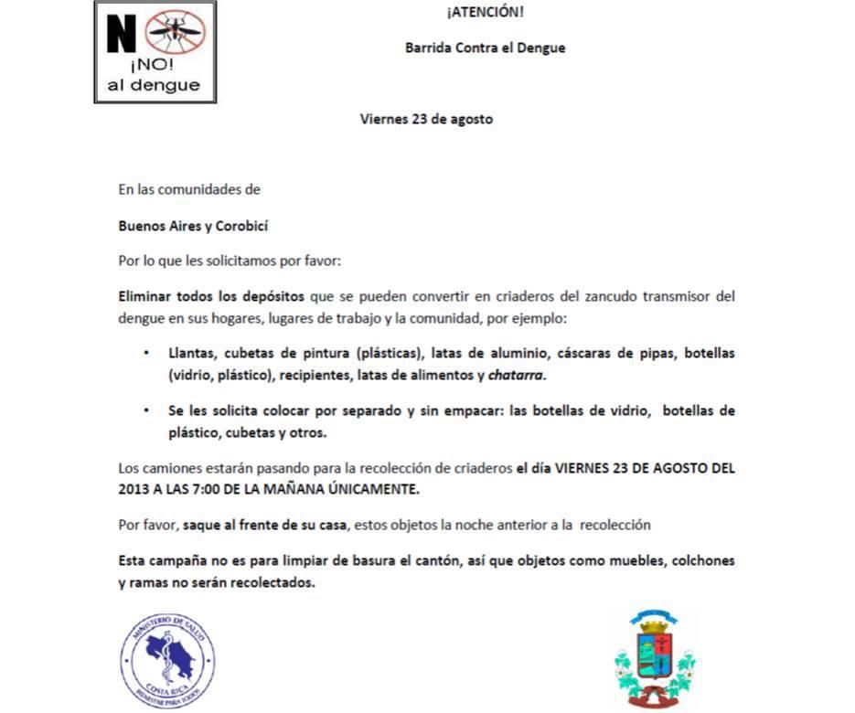 Ministerio de salud anuncia barrida contra el dengue en Buenos Aires y Corobicí en Santa Cruz.