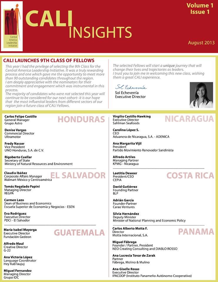 Laetitia Deweer Presidenta de Fundación Cepia, fué seleccionada como miembro de la Iniciativa de Liderazgo de Centroamérica (CALI)