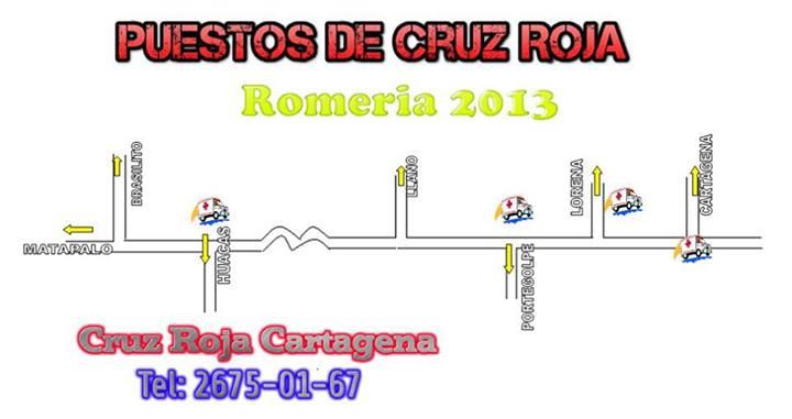 [Romeros] Cruz Roja de Cartagena da a concer los puntos de asistencia que tendrá disponible el día de mañana