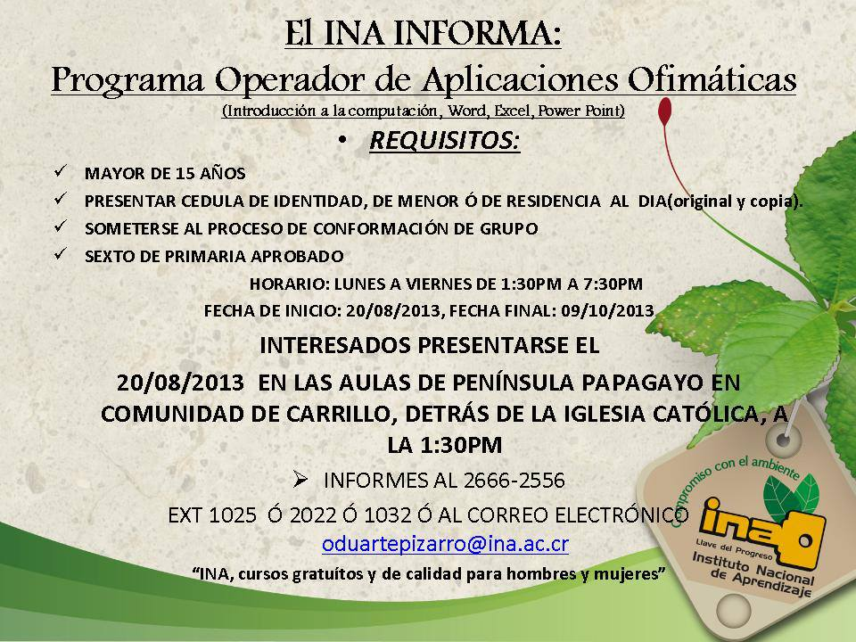 INA abrirá curso de Introducción a la Computación en la Comunidad de Carrillo