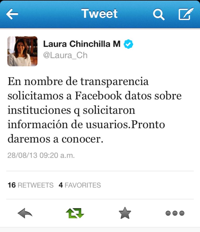 Laura Chinchilla pidió a Facebook aclarar solicitud de datos