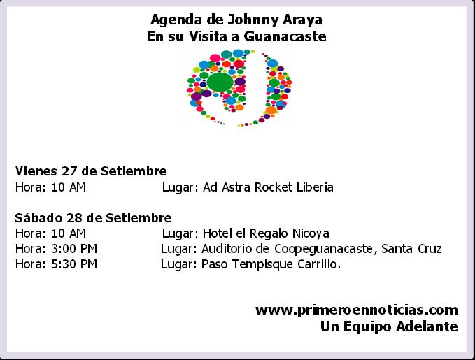[Audio] Candidato a la Presidencia Johnny Araya, anuncia la visita a 4 Cantones de la provincia de Guanacaste