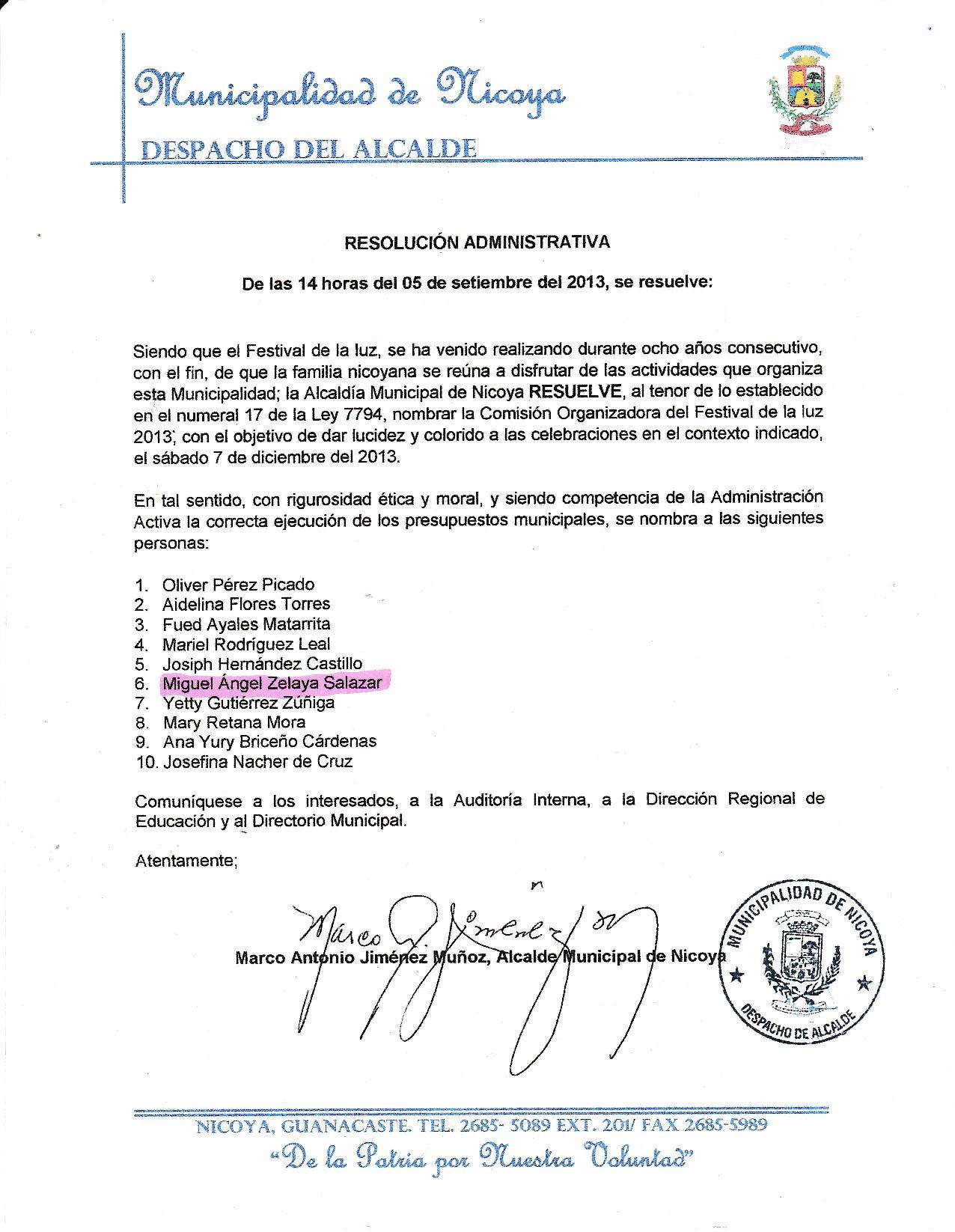 [Audio] Municipalidad de Nicoya nombra comisión organizadora, para el Festival de la Luz 2013