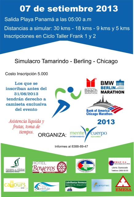 [Audio] Simulacro Marathones-Tamarindo-Chicago se correrá, mañana sábado 7 de Septiembre