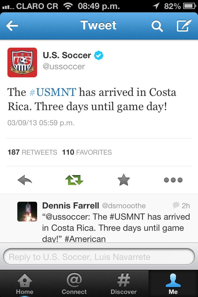 [Video] Selección de Estados Unidos ya arribó a Costa Rica para duelo clave rumbo a Brasil 2014