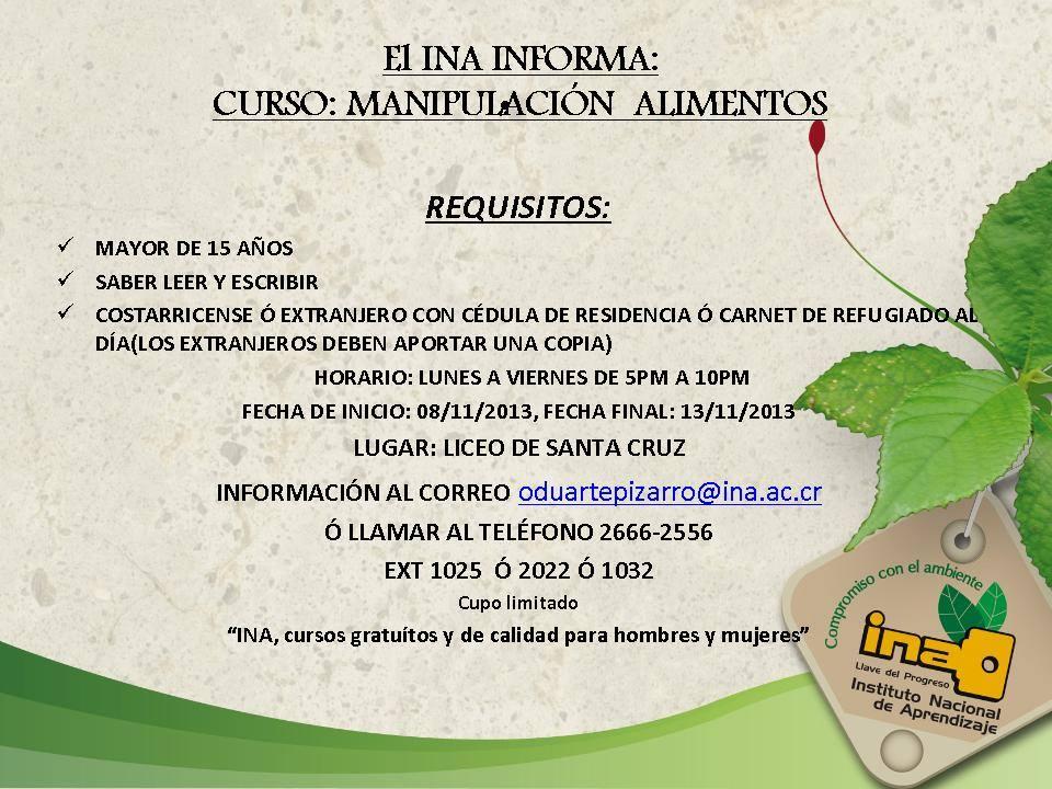 INA realizará curso de Manipulación de Alimentos en Liceo de Santa Cruz