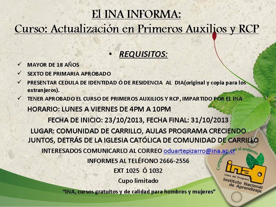 INA ofrecer curso de Primeros Auxilios en la Comunidad de Carrillo