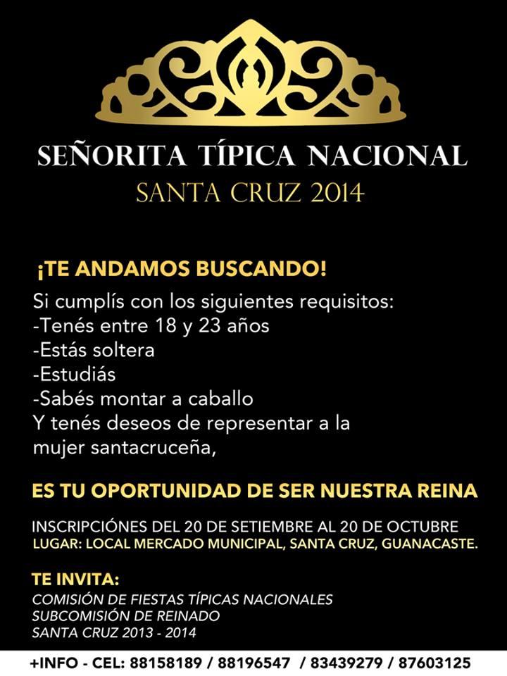 Comisión de Fiestas Típicas Nacionales de Santa Cruz 2014, inicia la Inscripción de candidatas a Reinado