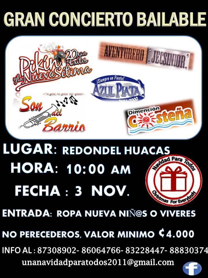 El Grupo Una Navidad para todos Organizara un concierto bailable sin fines de lucros; para recaudar Ropa, Juguetes y víveres en Huacas Santa Cruz
