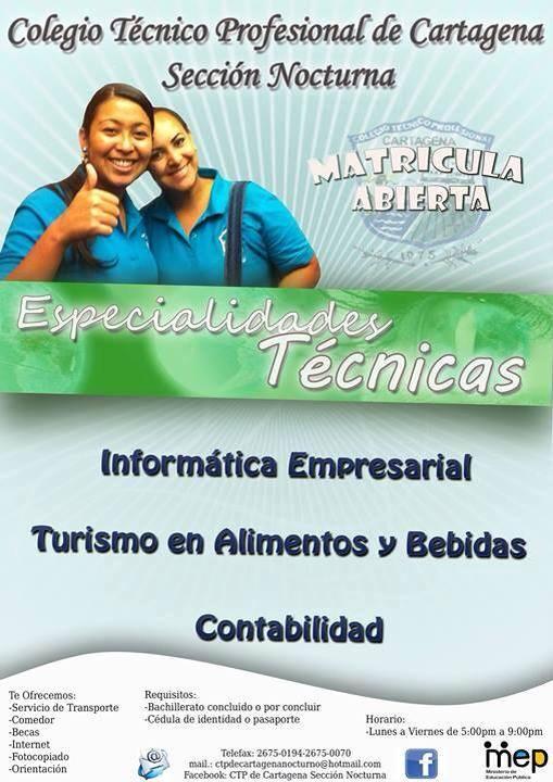 [Audio] CTP de Cartagena sección nocturna, anuncia la apertura de matrícula para el curso lectivo 2014